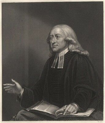 John Wesley. Founded Methodism. Methodist 1840 old antique print picture