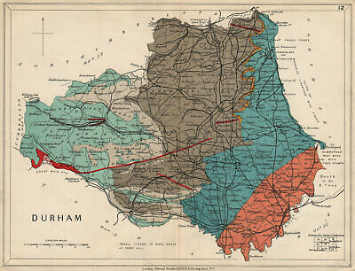 COUNTY DURHAM Geological map. STANFORD 1913 old antique vintage plan chart