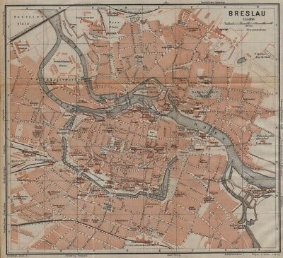 BRESLAU WROC?AW antique town city plan miasta I . Wroclaw. Poland mapa 1904