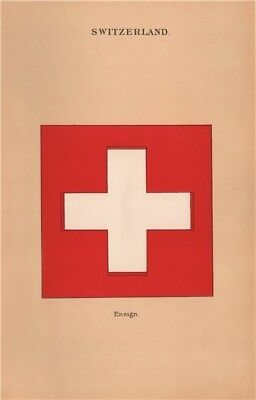 SWITZERLAND SWISS FLAGS. Ensign 1916 old antique vintage print picture