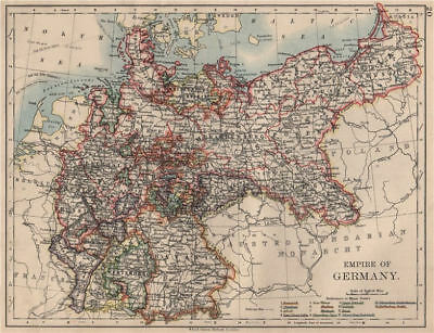 EMPIRE OF GERMANY. States. Prussia Bavaria Alsace Lorraine.  JOHNSTON 1895 map
