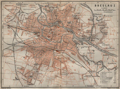 BRESLAU WROC?AW antique town city plan miasta I. Wroclaw. Poland mapa 1910