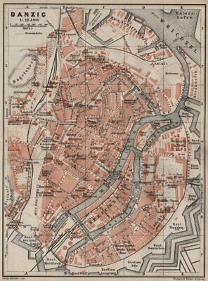GDANSK antique town city plan miasta. Gda?sk Danzig. Poland mapa 1910 old