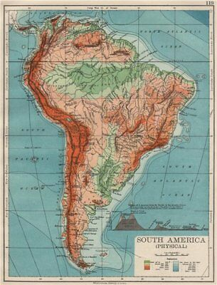 SOUTH AMERICA PHYSICAL. Inset West-East cross section. JOHNSTON 1900 old map