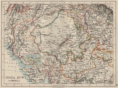 BRITISH INDIA NW. Rajputana (Rajasthan) Sindh Gujarat Malwa.  JOHNSTON 1900 map