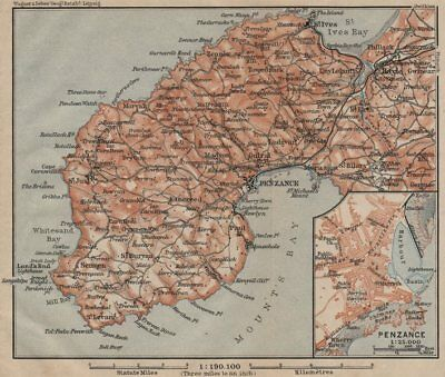 PENWITH PENINSULA & PENZANCE town plan. Land's End St Ives. Cornwall 1906 map