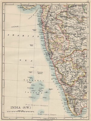 BRITISH INDIA SW.Bombay Mysore Malabar Coast Lakkadives.  JOHNSTON 1903 map