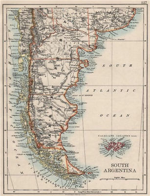 PATAGONIA. Southern Argentina & Chile. Falkland Islands. JOHNSTON 1900 old map