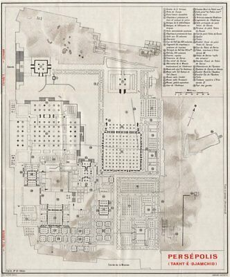 PERSEPOLIS vintage ground plan. Iran 1956 old vintage map chart
