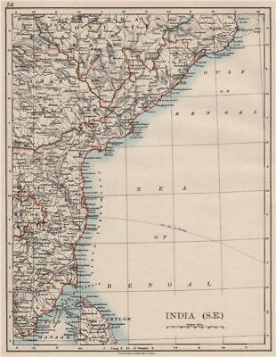 BRITISH INDIA SE.Madras Karnatak. French Karikal Pondicherry.JOHNSTON 1900 map
