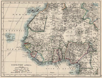 COLONIAL WEST AFRICA. Tribal areas. Caravan routes. Niger Coast Prot. 1900 map