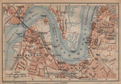 ROCHESTER, CHATHAM & STROOD town plan. River Medway. Dockyards. Kent 1906 map