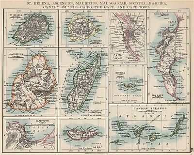 AFRICAN ISLANDS.Mauritius Madagascar Madeira Canaries St Helena 1903 old map