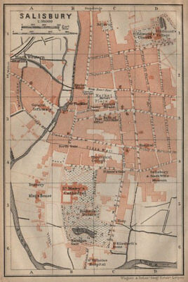 SALISBURY town city plan. St Mary's Cathedral. St Edmunds. Wiltshire 1906 map
