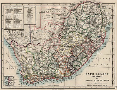COLONIAL SOUTH AFRICA. Cape Colony. Orange River Colony. Transvaal 1900 map