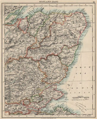 SCOTLAND EAST. Grampian Tayside Fife Firth of Forth Aberdeen.JOHNSTON 1903 map