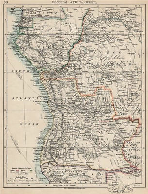 COLONIAL CENTRAL AFRICA. French Congo Free State Portuguese West Af.  1903 map