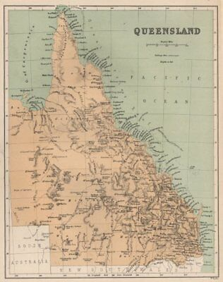 "Queensland state map showing 'supposed outer edge of Grt. Barrier Reef"" c1874"