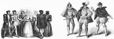 COSTUME. C1550; French, German, Burgundy 1570s 1845 old antique print picture