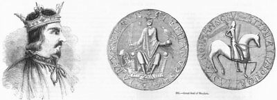 KINGS. Stephen; Seal of 1845 old antique vintage print picture
