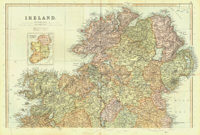 IRELAND NORTH. Inset in Provinces. Ulster. BLACKIE 1893 old antique map chart