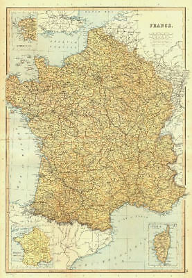 FRANCE. railways canals departments. Inset, in provinces. BLACKIE 1893 old map