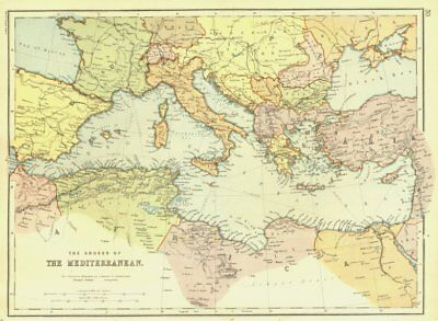 SHORES OF THE MEDITERRANEAN. Including telegraph routes. BLACKIE 1893 old map