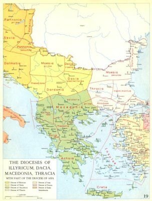 CHRISTIANITY.Dioceses of Illyricum,Dacia,Macedonia,Thracia Asia 1958 old map