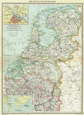 NETHERLANDS. maps of Amsterdam; Dutch Possessions 1907 old antique chart