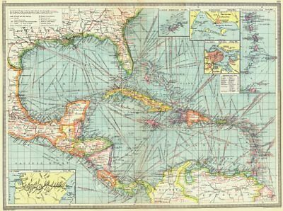 CARIBBEAN CENTRAL AMERICA. Industry & Comms; Panama Canal; Bermuda 1907 map