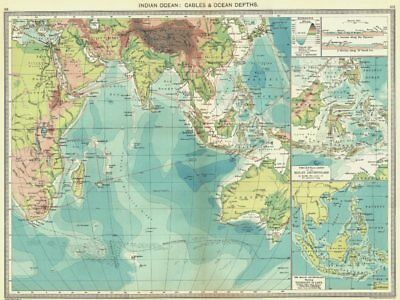 INDIAN OCEAN. Cables & depths; Malay Archipelago 1907 old antique map chart