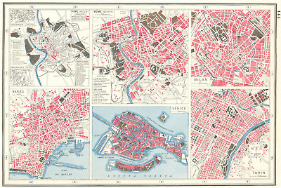 ITALY CITIES. Rome Ancient & Modern Naples Milan Venice & Turin plans 1920 map