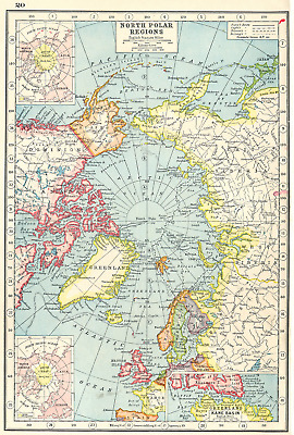 ARCTIC. North Pole showing explorers' routes. Inset Kane Basin 1920 old map