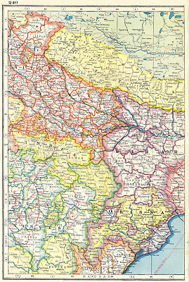 INDIA NORTH EAST. Orissa Bihar United & Central Provinces Nepal 1920 old map