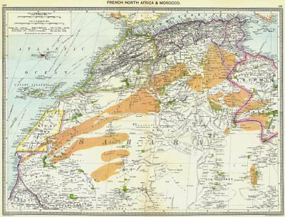 AFRICA. French North Africa and Morocco 1907 old antique map plan chart