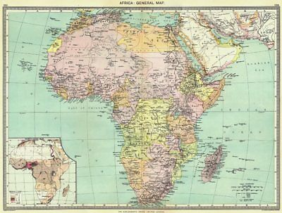 AFRICA. Africa. General Map; Inset map of Population map 1907 old antique
