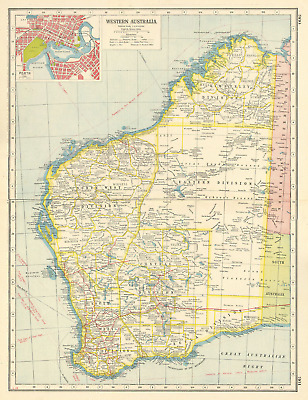 WESTERN AUSTRALIA. Inset plan of Perth. HARMSWORTH 1920 old vintage map chart