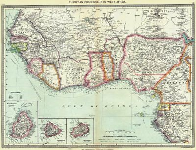 WEST AFRICA. European colonies; Mauritius; Ascension; St Helena 1907 old map