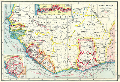 WEST AFRICA. French. Gold Coast Ghana. inset Gambia; Sierra Leone 1920 map