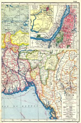 BANGLADESH. Bengal Burma; inset Calcutta Kolkata  city & area 1920 old map