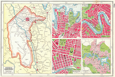 AUSTRALIA. Capital Territory Sydney Brisbane Canberra Melbourne plans 1920 map