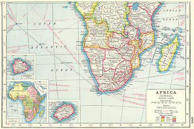 SOUTHERN AFRICA.Inset Ascension Is.; European colonies 1914;St Helena 1920 map