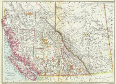 CANADA. Western. showing goldfields of British Columbia 1907 antique map
