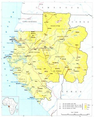 GABON. Gabon; Republic of Gabon 1973 old vintage map plan chart