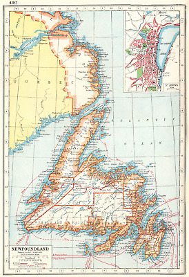 NEWFOUNDLAND. inset St Johns. Canada. HARMSWORTH 1920 old vintage map chart