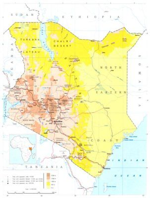 KENYA. Kenya; Republic of Kenya 1973 old vintage map plan chart