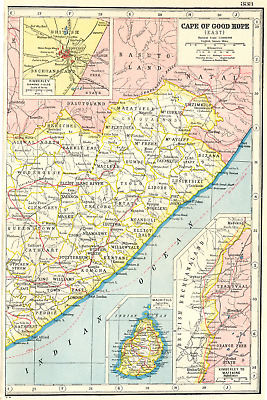 EASTERN CAPE. Inset map of the Kimberley diamond fields. South Africa 1920