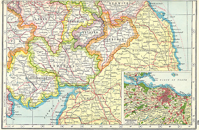 SCOTLAND. Borders. Dumfries Roxburgh Selkirk Peebles;Inset Edinburgh 1920 map