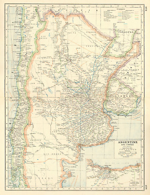 ARGENTINA RAILWAYS. Showing rail gauge & companies. Inset Buenos Aires 1920 map