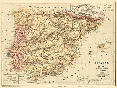 Spain and Portugal. Iberia. Provinces. CORTAMBERT 1880 old antique map chart